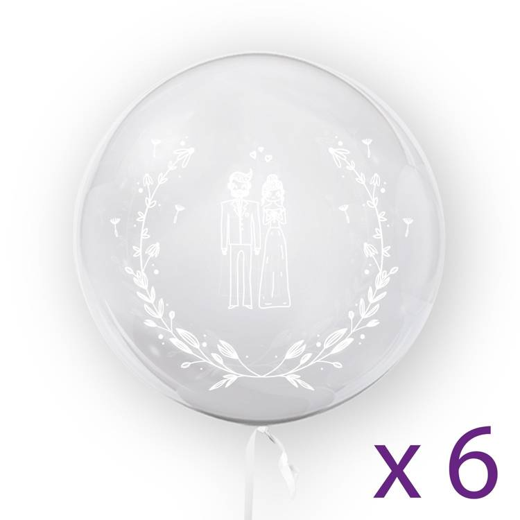 BALLOON 45CM JUST MARRIED - 6pcs